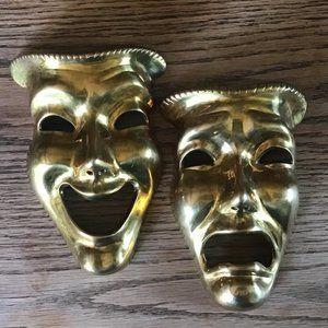 Brass Tragedy & Comedy Masks Wall Wall Decor VTG